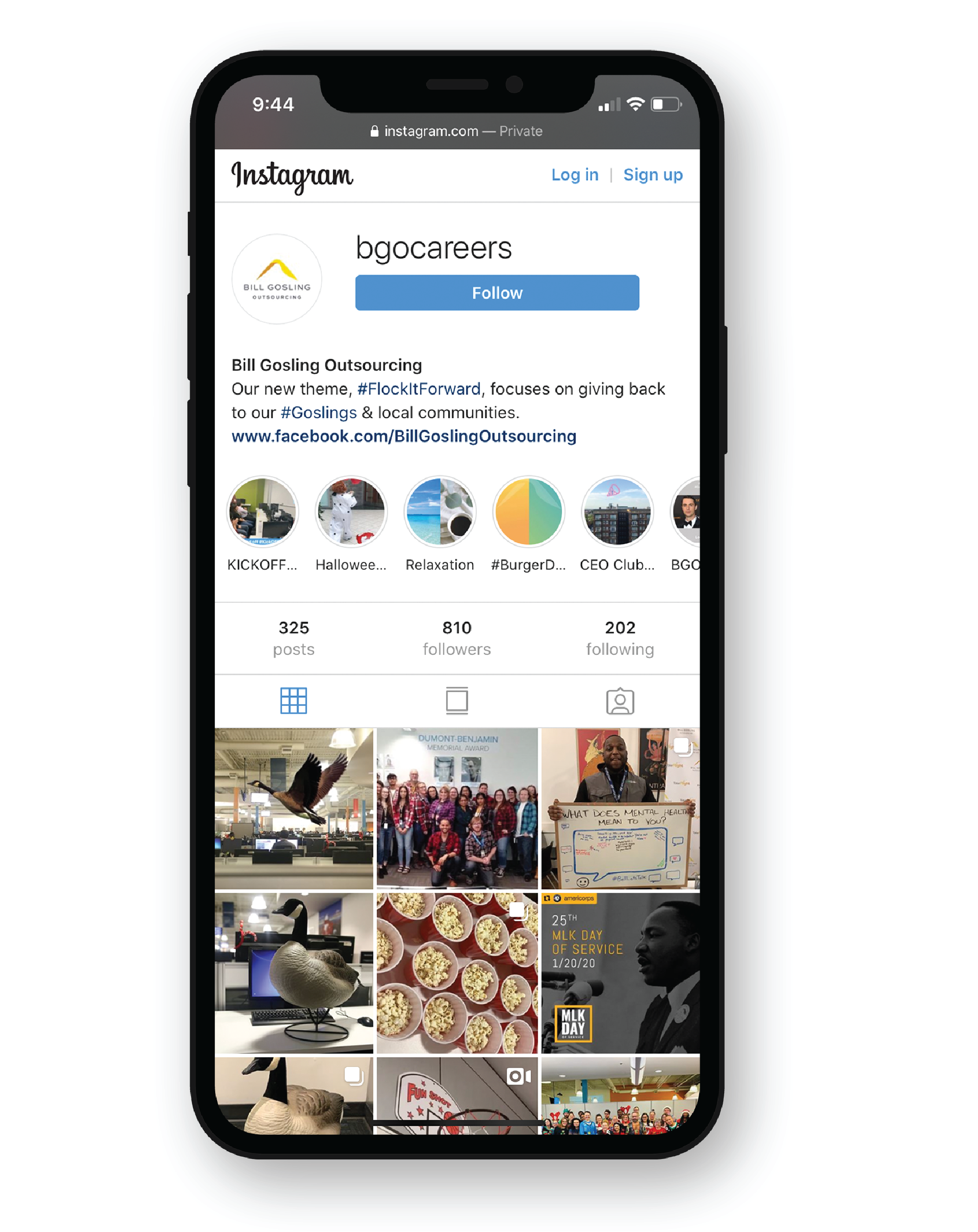 Instagram page on phone